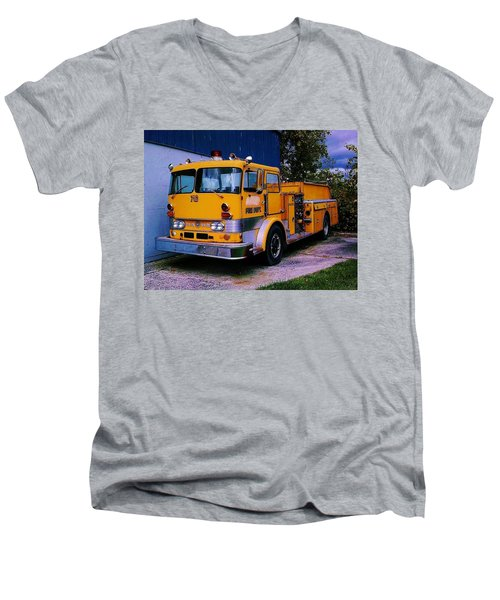 Men's V-Neck T-Shirt featuring the photograph 710 ....... Fire Dept. by Daniel Thompson