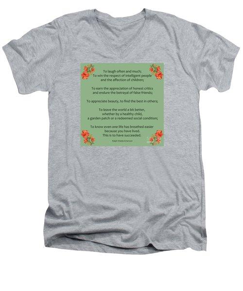 75- Ralph Waldo Emerson Men's V-Neck T-Shirt by Joseph Keane