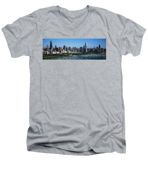 Aerial View Of Buildings In A City Men's V-Neck T-Shirt by Panoramic Images