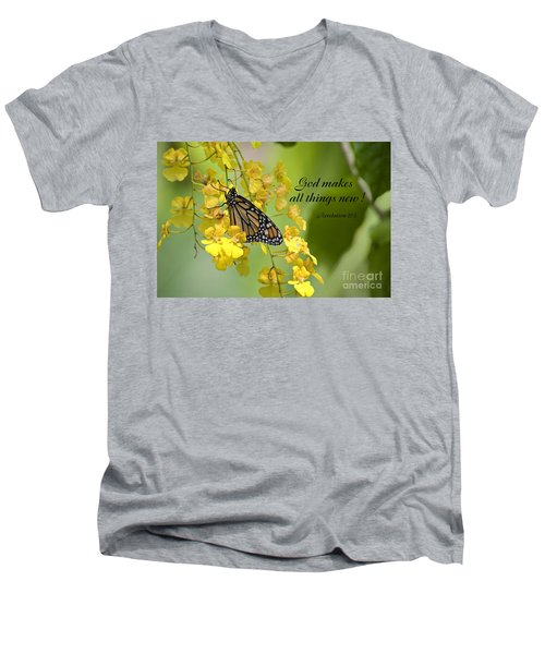 Butterfly Scripture Men's V-Neck T-Shirt
