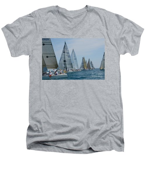 Sailboat Race Men's V-Neck T-Shirt by Randy J Heath