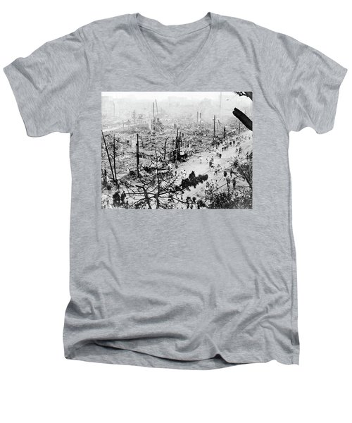 Men's V-Neck T-Shirt featuring the photograph Tokyo Earthquake, 1923 by Granger