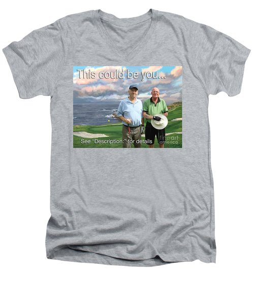Men's V-Neck T-Shirt featuring the painting 8th Hole Pebble Beach by Tim Gilliland