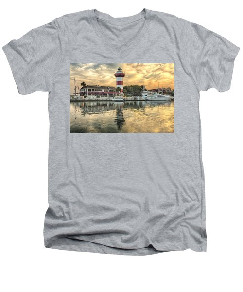 Lighthouse On Hilton Head Island Men's V-Neck T-Shirt