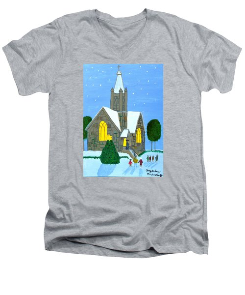 Men's V-Neck T-Shirt featuring the painting Merry Christmas by Magdalena Frohnsdorff