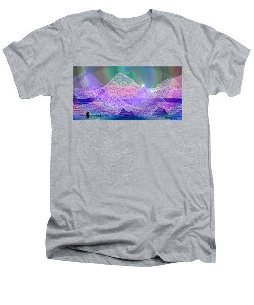 939 - Magic Mood  Mountain World Men's V-Neck T-Shirt by Irmgard Schoendorf Welch