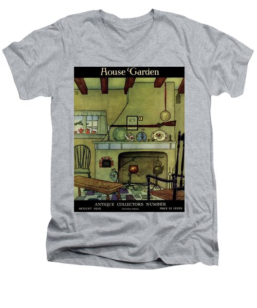 A 1920's Idea Of A Colonial Kitchen Men's V-Neck T-Shirt