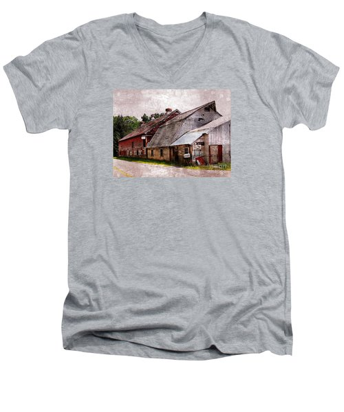 A Barn With Many Purposes Men's V-Neck T-Shirt by Marcia Lee Jones