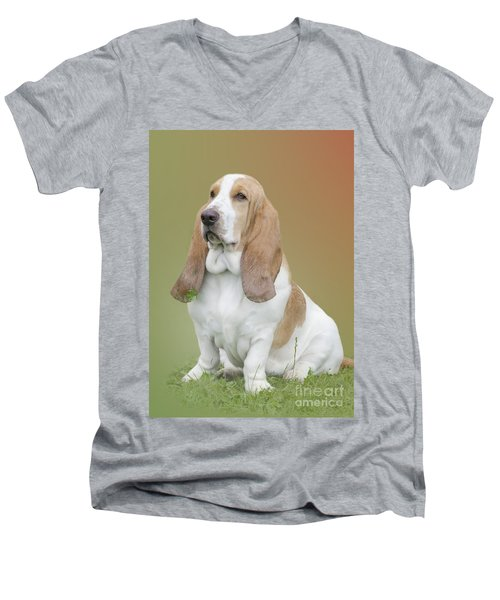 A Basset Hound Portrait Men's V-Neck T-Shirt
