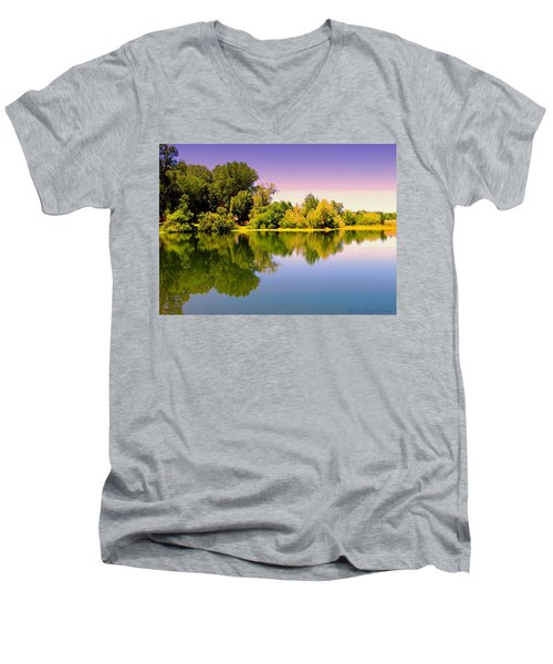 A Beautiful Day Reflected Men's V-Neck T-Shirt by Joyce Dickens