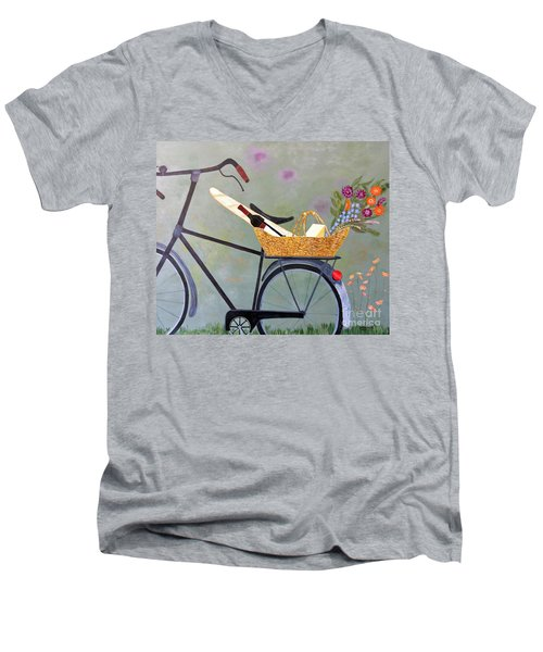 A Bicycle Break Men's V-Neck T-Shirt