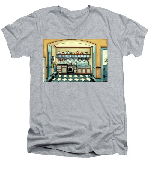A Blue Kitchen With A Tiled Floor Men's V-Neck T-Shirt