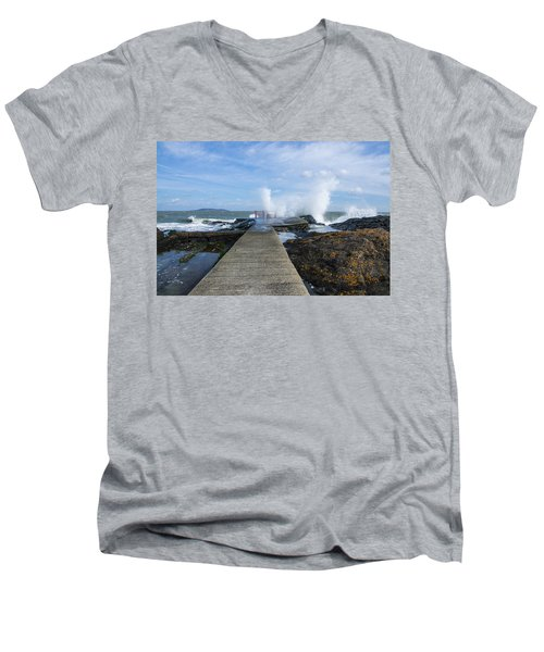 A Blustery Day At High Rock Men's V-Neck T-Shirt by Martina Fagan