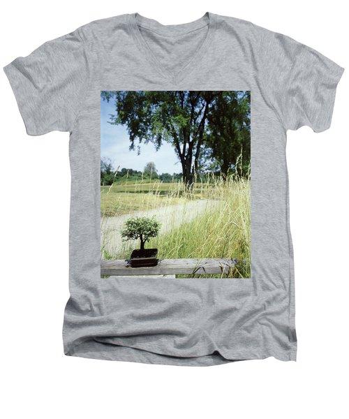 A Bonsai Tree In A Hayfield Men's V-Neck T-Shirt