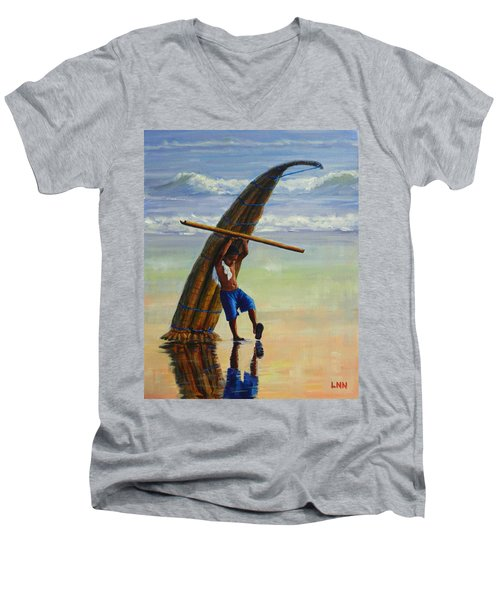A Boy And His Caballito De Totora Men's V-Neck T-Shirt