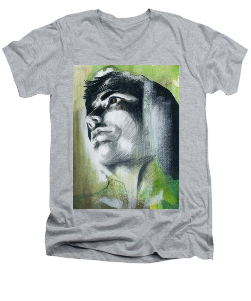 Men's V-Neck T-Shirt featuring the painting A Boy Named Persistence by Rene Capone