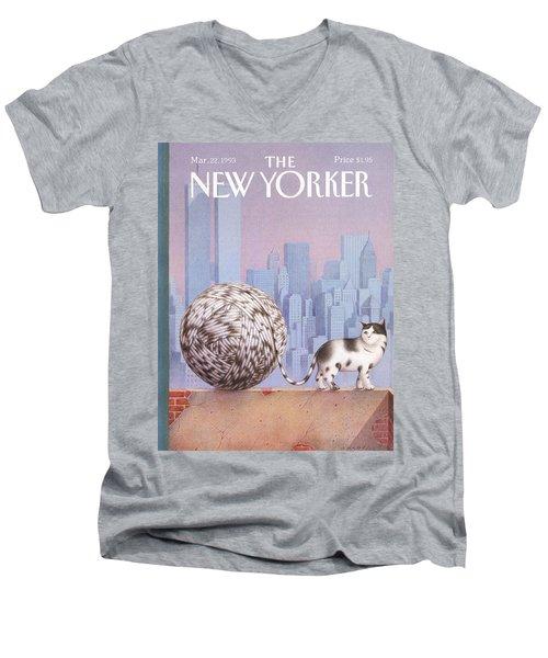A Cat With A Ball Of String For A Tail Men's V-Neck T-Shirt