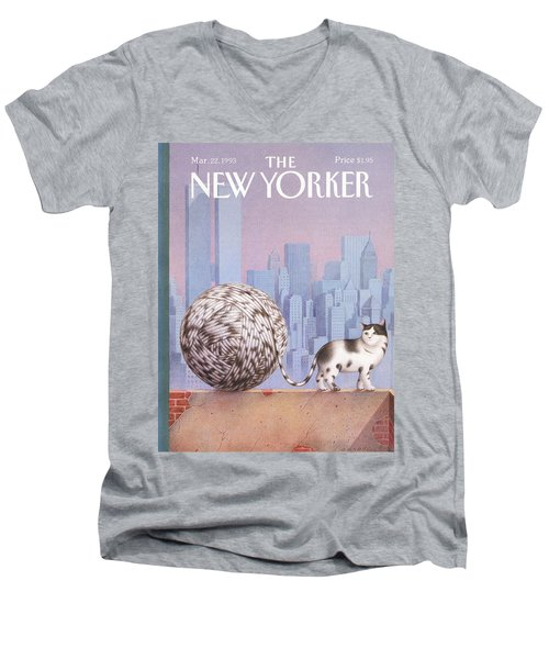 A Cat With A Ball Of String For A Tail Men's V-Neck T-Shirt