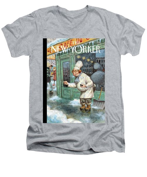 A Chef Lightly Pinches Salt On The Sidewalk Men's V-Neck T-Shirt
