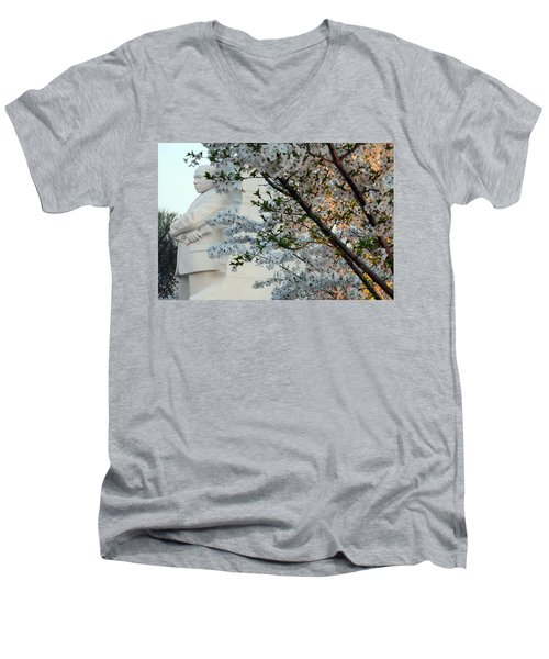 Men's V-Neck T-Shirt featuring the photograph A Cherry Blossomed Martin Luther King by Cora Wandel