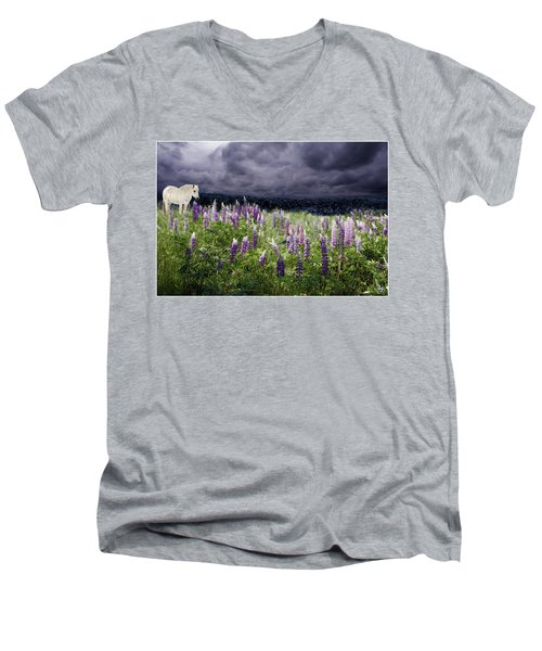 A Childs Dream Among Lupine Men's V-Neck T-Shirt
