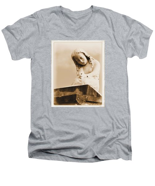 Men's V-Neck T-Shirt featuring the photograph A Child's Prayer by Nadalyn Larsen