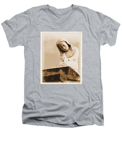 A Child's Prayer Men's V-Neck T-Shirt by Nadalyn Larsen