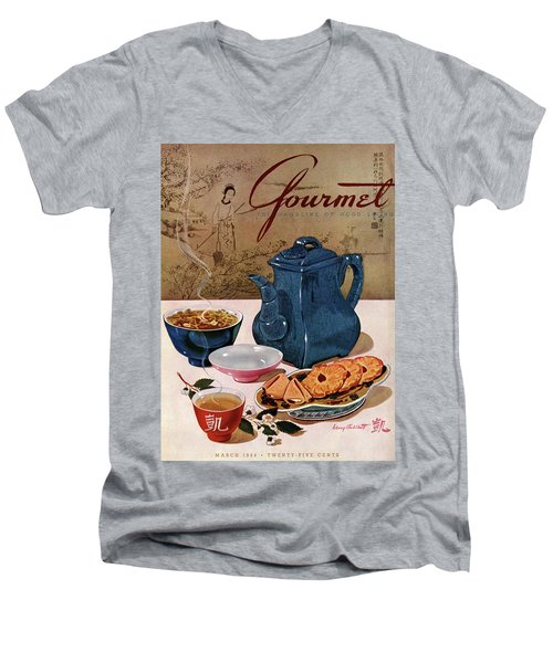A Chinese Tea Pot With Tea And Cookies Men's V-Neck T-Shirt