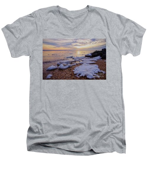 Men's V-Neck T-Shirt featuring the photograph A Cold Sandy Hook Winter by Debra Fedchin