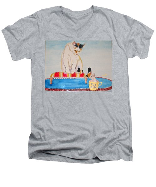 Men's V-Neck T-Shirt featuring the painting A Cup Of Chihuahua by Phyllis Kaltenbach