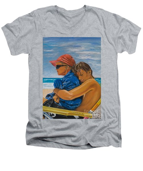 A Day On The Beach Men's V-Neck T-Shirt