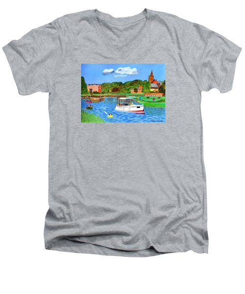 Men's V-Neck T-Shirt featuring the painting A Day On The River by Magdalena Frohnsdorff