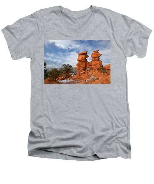 A December Morning Men's V-Neck T-Shirt by Ronda Kimbrow