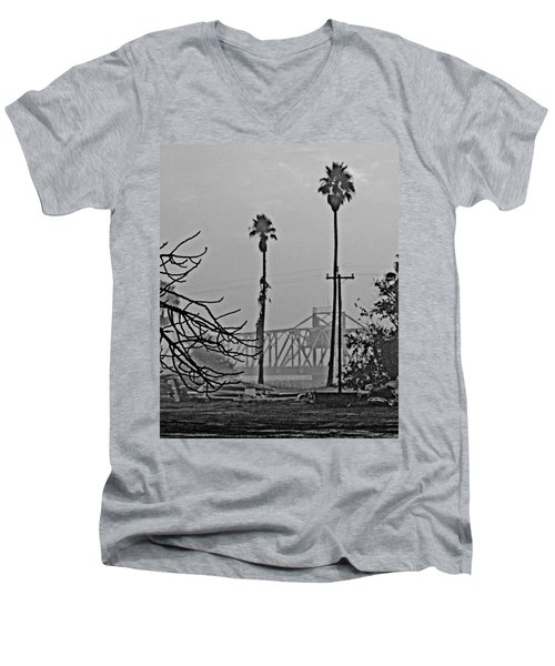 a Delta drawbridge in the morning mist Men's V-Neck T-Shirt