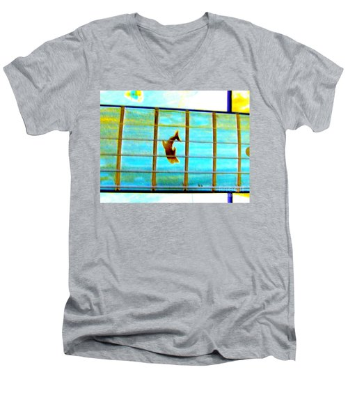 A Dolphin On A Guitar Ocean Men's V-Neck T-Shirt