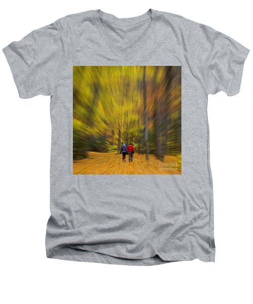 A Fall Stroll Taughannock Men's V-Neck T-Shirt by Jerry Fornarotto