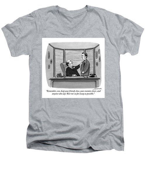 A Father Behind A Desk Addresses His Grown Up Son Men's V-Neck T-Shirt