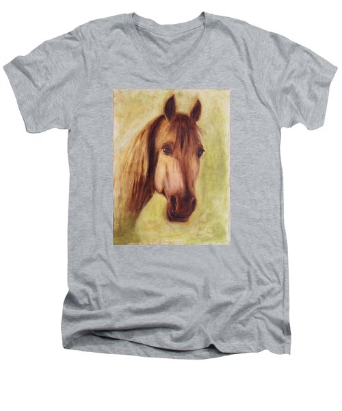Men's V-Neck T-Shirt featuring the painting A Fine Horse by Xueling Zou