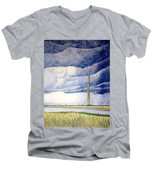 A Finger To The Sky Men's V-Neck T-Shirt by A  Robert Malcom