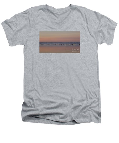 Men's V-Neck T-Shirt featuring the photograph A Foggy Fishing Day by John Telfer