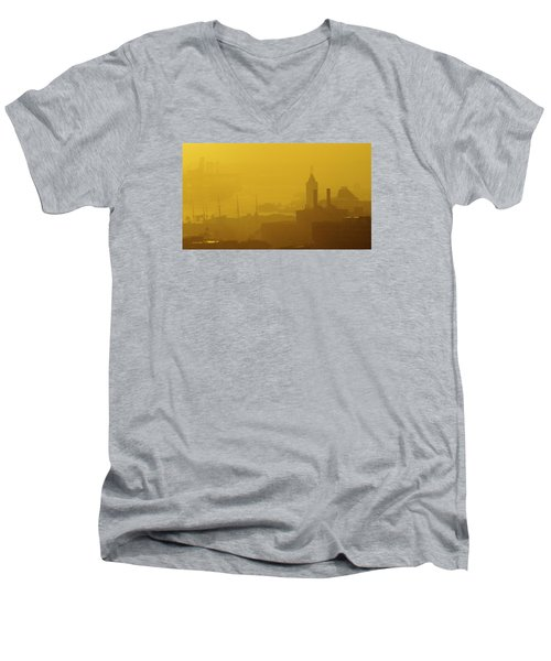Men's V-Neck T-Shirt featuring the photograph A Foggy Golden Sunset In Honolulu Harbor by Lehua Pekelo-Stearns