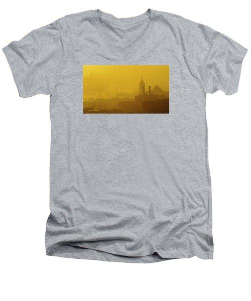 A Foggy Golden Sunset In Honolulu Harbor Men's V-Neck T-Shirt by Lehua Pekelo-Stearns