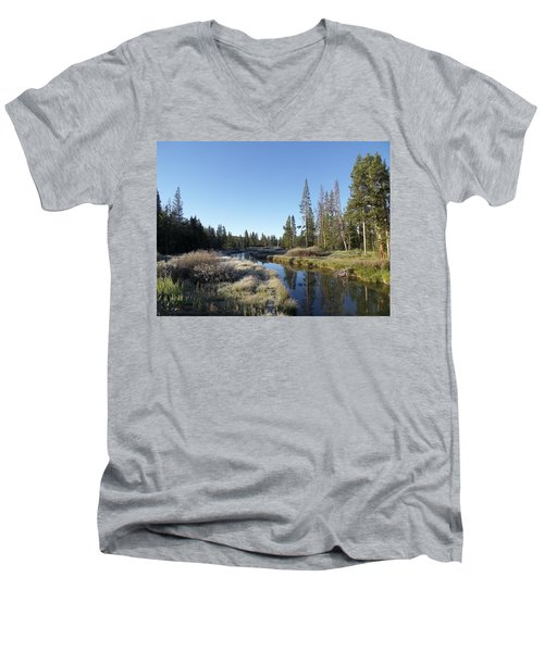 A Frosty Morning Along Obsidian Creek Men's V-Neck T-Shirt