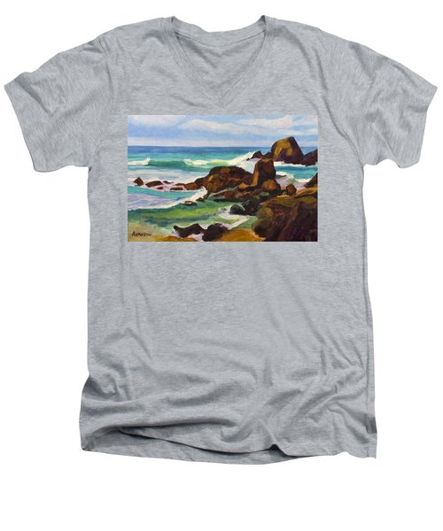 Men's V-Neck T-Shirt featuring the painting A Frouxeira Galicia by Pablo Avanzini