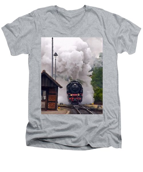 A Full Head Of Steam Men's V-Neck T-Shirt by Michael Pickett
