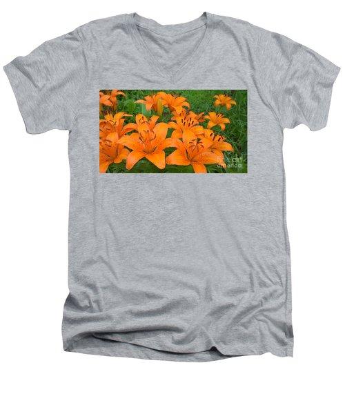A Garden Full Of Lilies Men's V-Neck T-Shirt