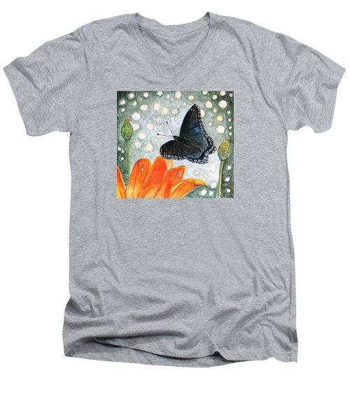 Men's V-Neck T-Shirt featuring the painting A Garden Visitor by Angela Davies