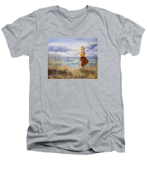 A Girl And The Ocean Men's V-Neck T-Shirt