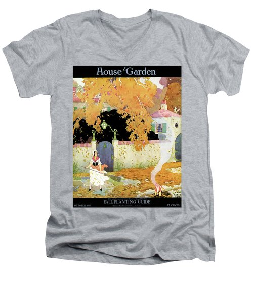 A Girl Sweeping Leaves Men's V-Neck T-Shirt