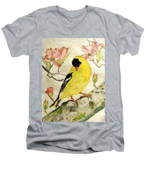 A Goldfinch Spring Men's V-Neck T-Shirt